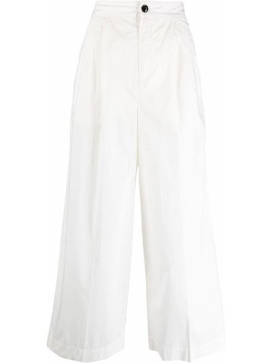Свободные белые укороченные брюки с карманами Woolrich