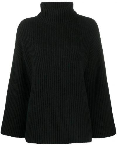 Кашемировый прямой черный джемпер с высоким воротником Allude