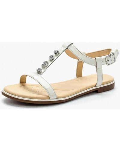 Белые кожаные сандалии Clarks