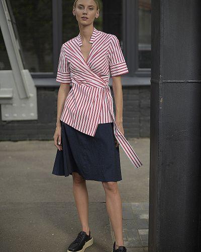 Блузка с коротким рукавом в полоску с запахом Vassa&co