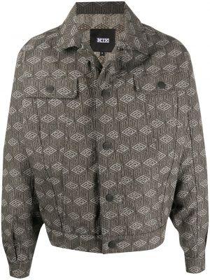 С рукавами хлопковая бежевая джинсовая куртка на пуговицах Ktz
