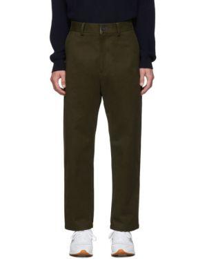 Хлопковые брючные оливковые брюки с поясом Studio Nicholson