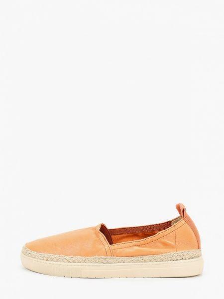 Оранжевые кожаные эспадрильи Tamaris