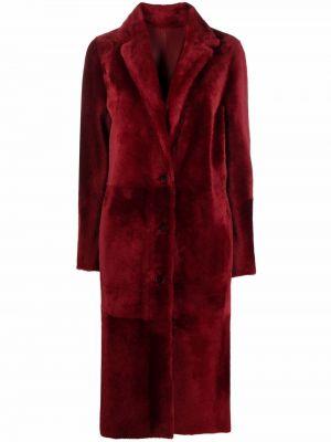 Пальто из овчины - красное Drome