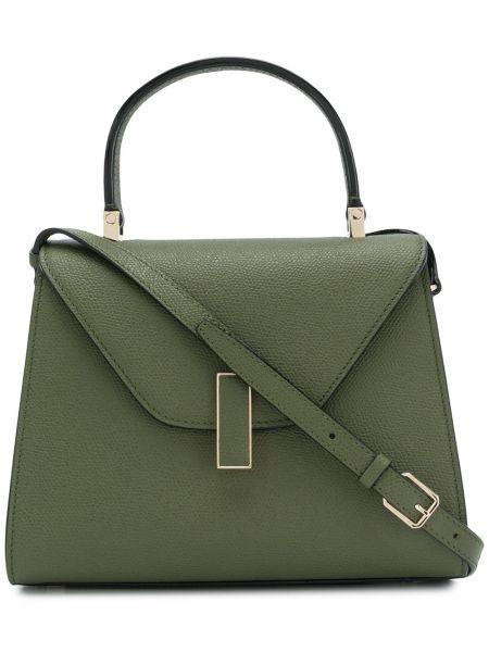 Кожаная золотистая зеленая маленькая сумка Valextra
