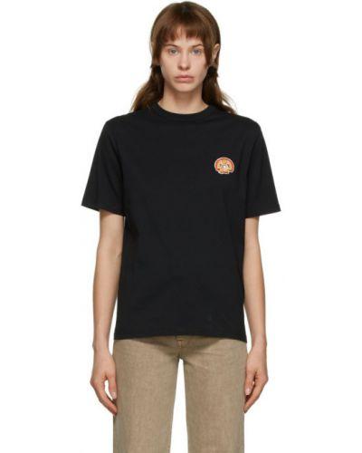 Ватная черная рубашка с воротником с заплатками Maison Kitsuné