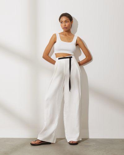 Льняные брюки с поясом свободного кроя 12storeez