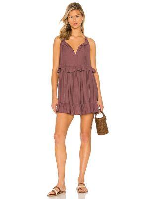 Текстильное малиновое платье мини с декольте Majorelle