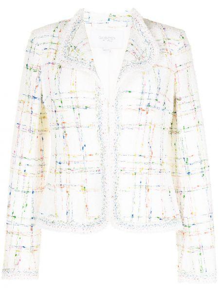 Белый удлиненный пиджак твидовый в клетку Giambattista Valli