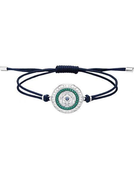 Синий браслет металлический с подвесками с декоративной отделкой Swarovski