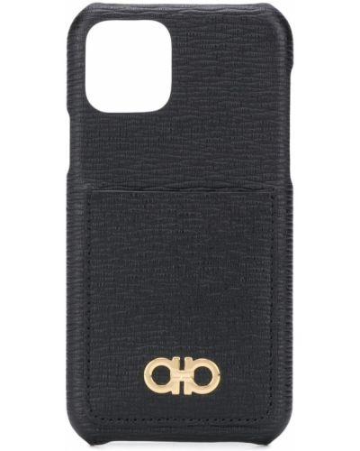 Skórzany czarny etui na klucze z ozdobnym wykończeniem z gniazdem Salvatore Ferragamo