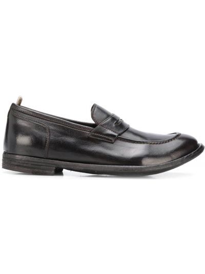 Ciemny brąz loafers na pięcie z prawdziwej skóry Officine Creative