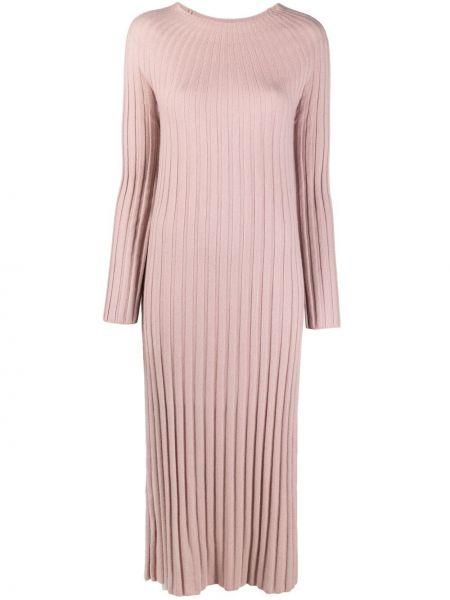Кашемировое розовое платье миди с вырезом N.peal