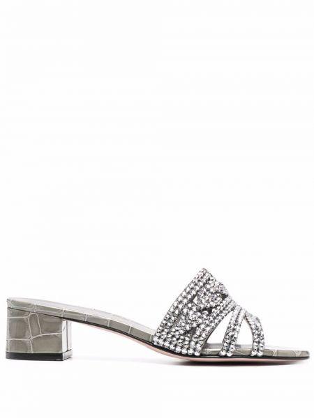 Мюли на каблуке - серебряные Gina