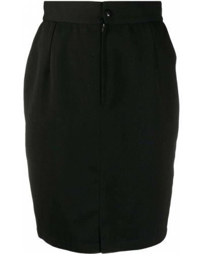 Шерстяная черная с завышенной талией юбка на молнии Versace Pre-owned