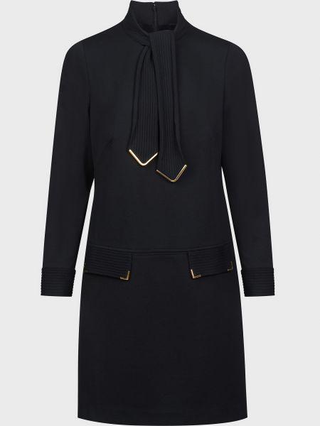 Шерстяное черное платье на молнии Luisa Spagnoli