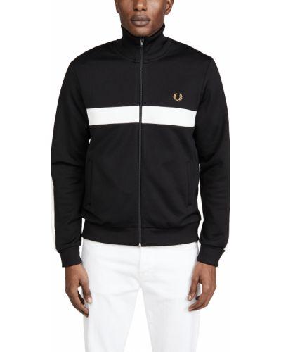 Флисовая черная куртка с вышивкой Fred Perry