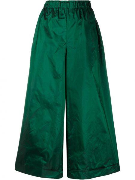 Зеленые шелковые брюки с поясом свободного кроя Daniela Gregis
