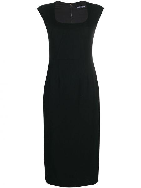Облегающее шелковое черное платье мини Dolce & Gabbana