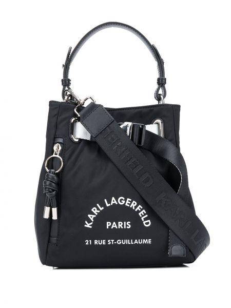 Skórzana torebka z uchwytem z logo Karl Lagerfeld