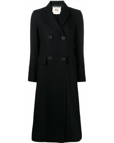 Шерстяное черное длинное пальто двубортное Semicouture