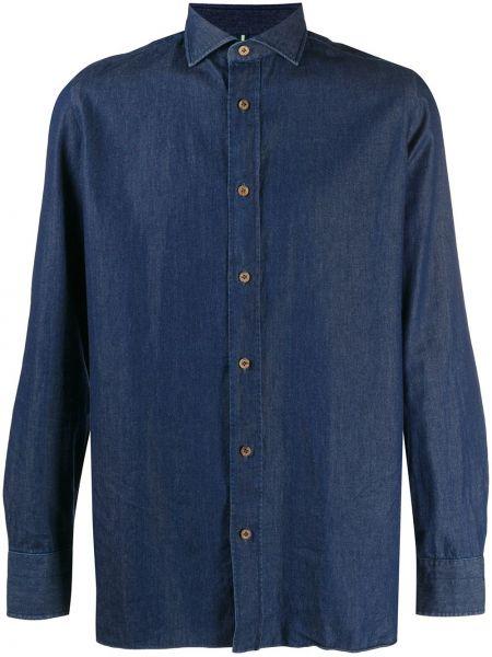 Классическая синяя джинсовая рубашка с воротником на пуговицах Borrelli
