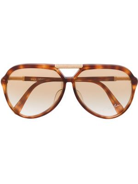 Прямые муслиновые солнцезащитные очки хаки Paco Rabanne Pre-owned