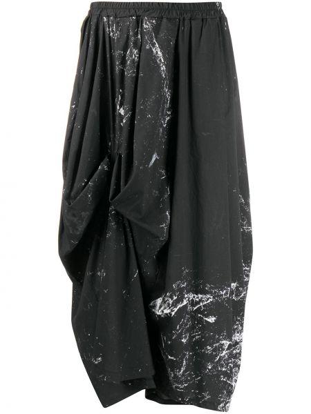 Хлопковая черная юбка с поясом свободного кроя Barbara Bologna