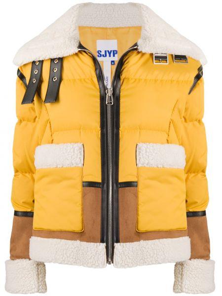 Желтая замшевая стеганая длинная куртка Sjyp