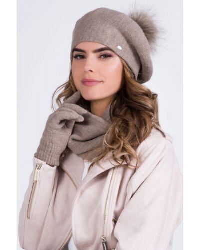 Beżowy beret wełniany Kamea