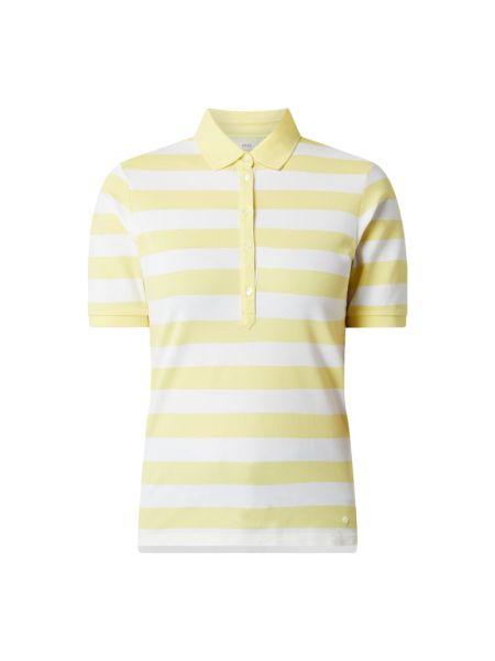 Żółty t-shirt w paski bawełniany Brax