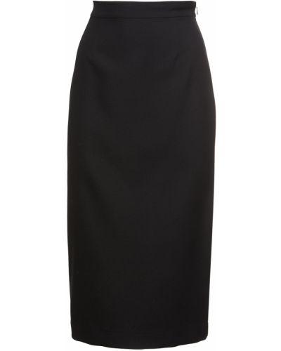 Шерстяная юбка миди - черная Rochas