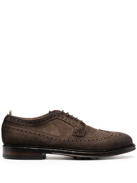 Koronkowa brązowy buty brogsy z prawdziwej skóry na sznurowadłach Officine Creative