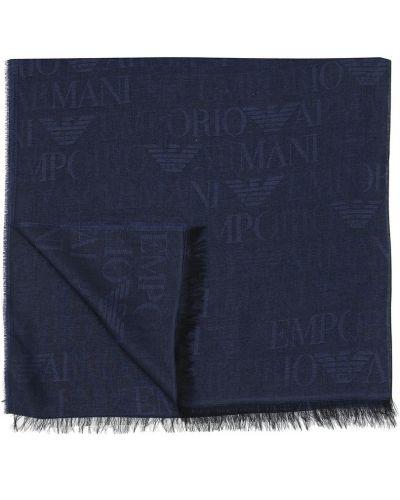 Niebieski szalik z frędzlami Emporio Armani