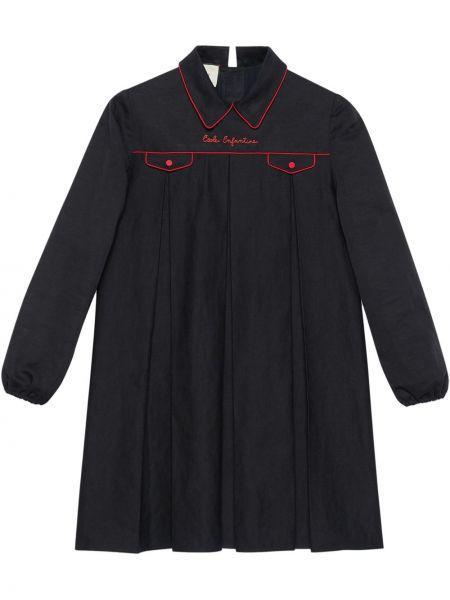 Bielizna czarny top z haftem z kieszeniami Gucci