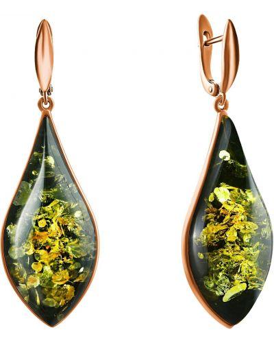 Серебряные серьги золотые с янтарем позолоченные Darvin