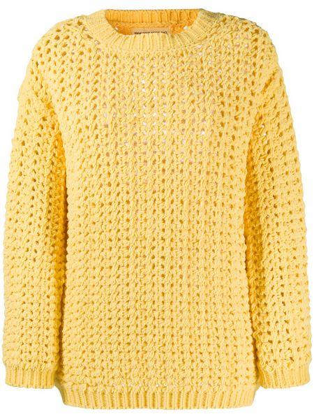 Желтый длинный свитер с вырезом круглый Ermanno Scervino