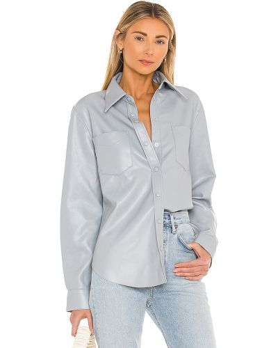 Кожаная джинсовая рубашка - синяя Agolde