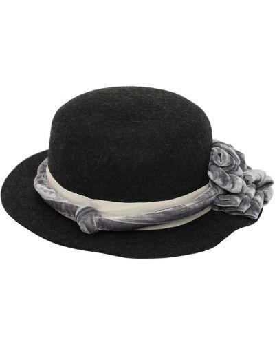 Czarny wełniany kapelusz Tia Cibani
