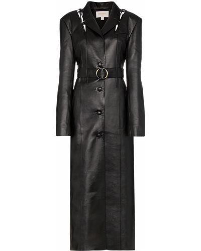 Черное кожаное длинное пальто с поясом Matériel