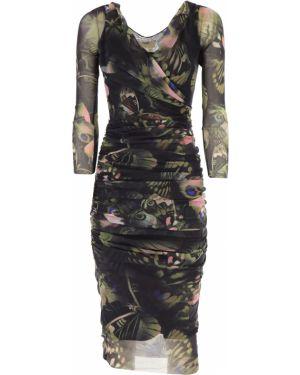 Czarna sukienka wieczorowa asymetryczna z długimi rękawami Fuzzi