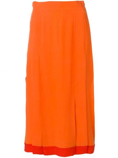 Шелковая юбка миди - оранжевая Cashmere In Love