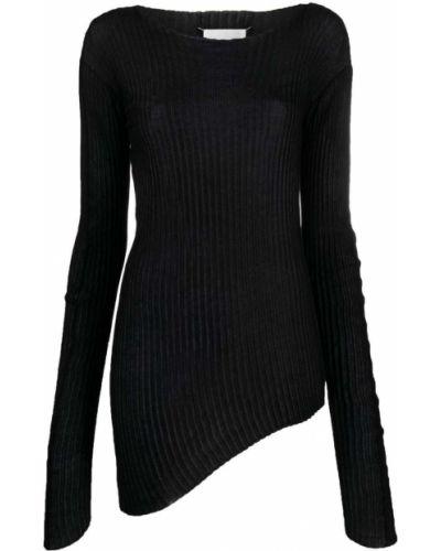 Czarny bawełna z rękawami sweter z okrągłym dekoltem Maison Margiela