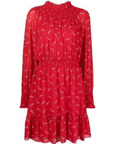 С рукавами красное платье макси с поясом Michael Kors