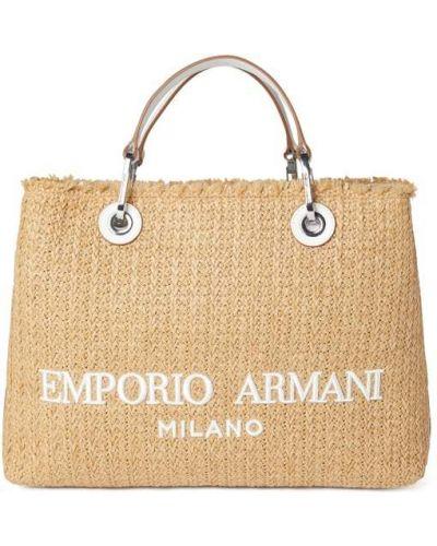 Beżowa torba na ramię w paski Emporio Armani