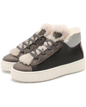 Серые кожаные кроссовки с подкладкой Gallucci