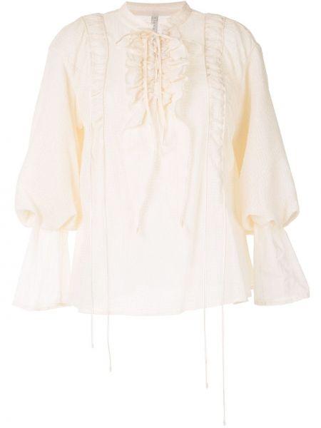 Шелковая блузка с оборками с воротником свободного кроя Renli Su