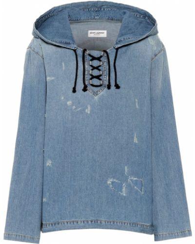 Толстовка с капюшоном джинсовая Saint Laurent