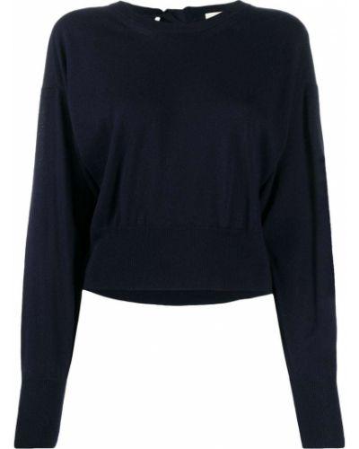 Шерстяной темно-синий джемпер с длинными рукавами с круглым вырезом Semicouture