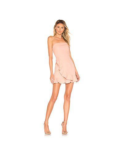 Платье мини персиковое с оборками Superdown